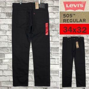 NWT LEVIS 505 Regular Stretch Men's Sz 34 x 32 Straight Leg Black Jeans